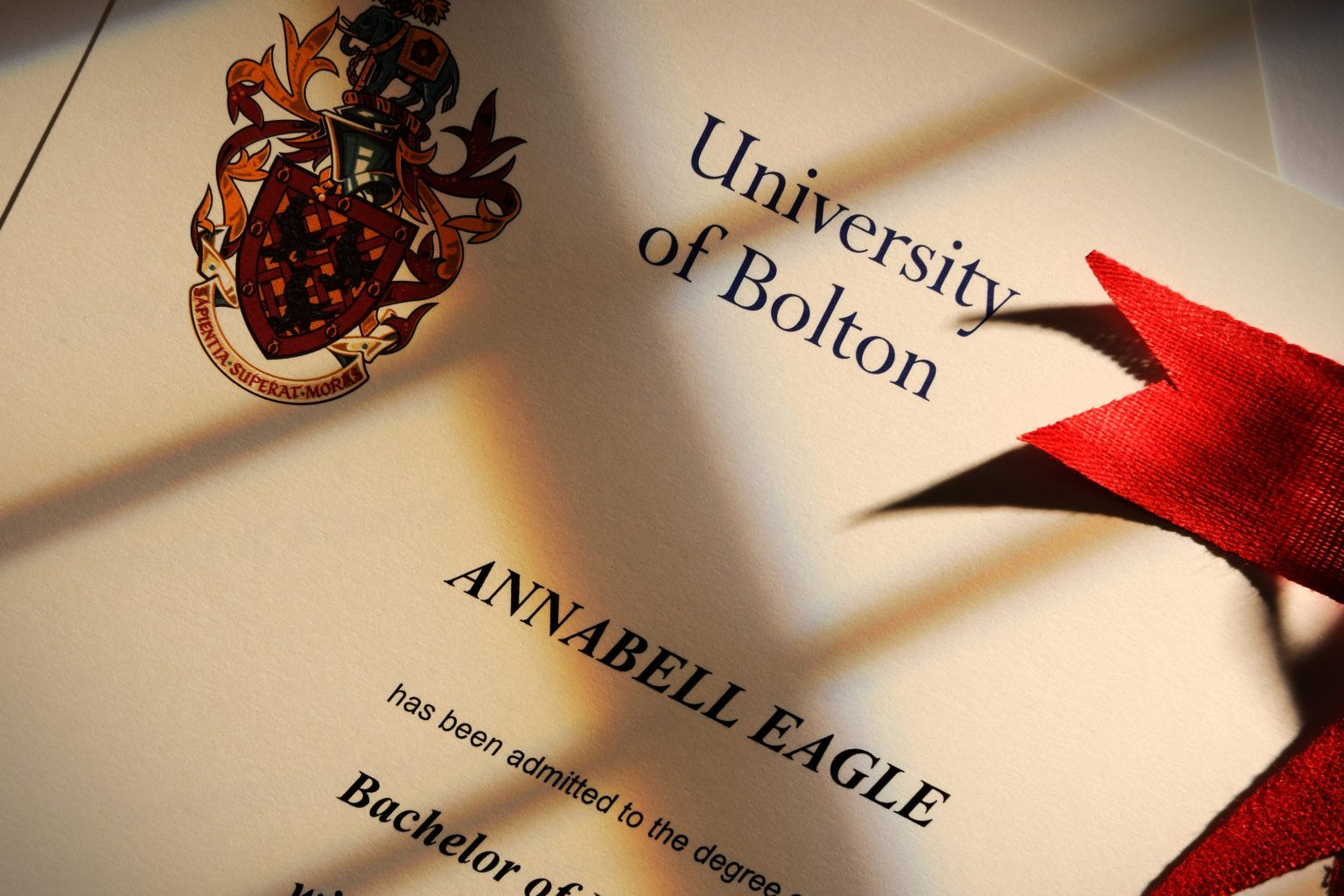 University of Bolton Degree Certificate