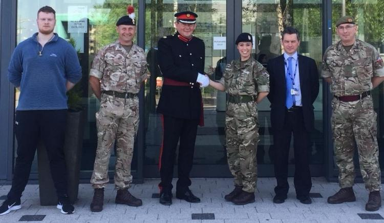Pictured from left to right are Bolton College student Rufus Aindow, Warrant Officer 2 David Naylor, Professor George Holmes, President and Vice-Chancellor of the university, Jessica Law, Associate Lecturer in Sport Rehabilitation and Senior Clinician, Sp