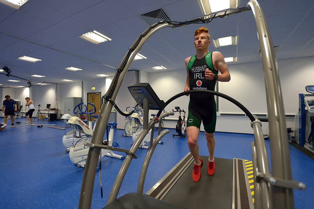 Irish Triathlete Sean Husband running on a treadmill in the Athlete Development Centre (ADC) at the University of Bolton