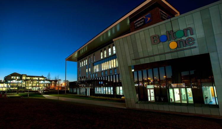 Night time view of Bolton One, a leading sport facility on the University of Bolton campus.